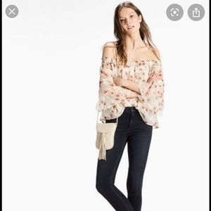 NWT Lucky Brand Floral off the shoulder blouse top